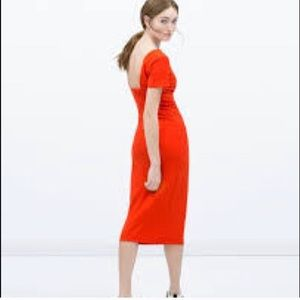 NWOT Zara open back midi bodycon dress